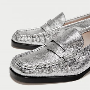 Silver Square Toe Low Heel Slip-on Penny Loafers for Women