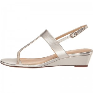 Champagne Metallic T Strap Slingback Wedge Sandals