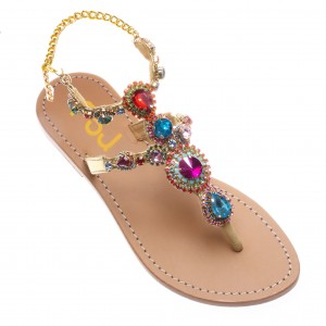 Colorful Jeweled Sandals Summer Rhinestone Flat Thong Sandals