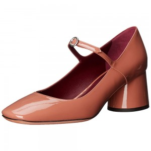 Tan Chunky Heels Mary Jane Pumps Square Toe Vintage Shoes