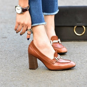 Tan Vintage Square Toe Chunky Heel Loafers for Women