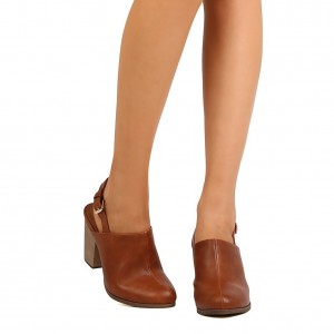 Tan Round Toe Chunky Heels Slingback Ankle Booties for Women