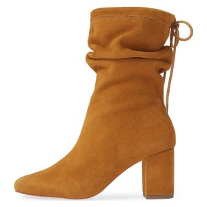 Tan Slouch Boots Suede Lace Up Block Heel Boots