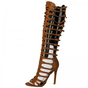 Tan Stiletto Heel Knee-high Gladiator Heels Sandals