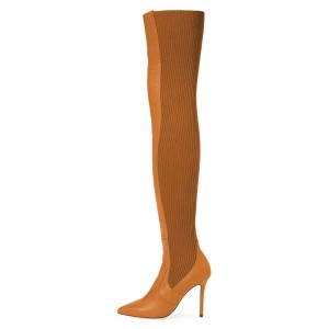 Tan Stretch boots Thigh High Heel Boots
