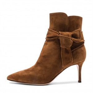 Tan Boots Pointy Toe Ankle Tie Suede Kitten Heel Booties