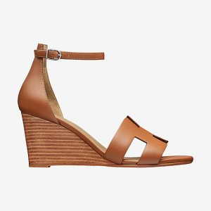 Tan Wedges Sandals Open Toe Vintage Legend Ankle Strap Sandals