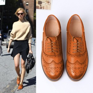 Tan Women's Oxfords Lace Up Heels Brogues Chunky Heels Vintage Shoes
