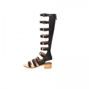 Women's Black Buckle Chunky Heel Gladiator Heels Sandals