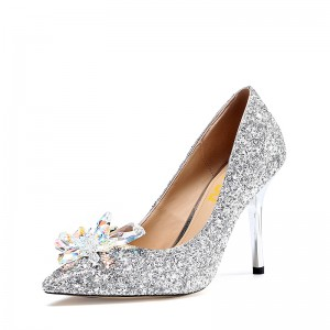 Silver Bridal Heels Cinderella Crystal Glitter Shoes for Wedding