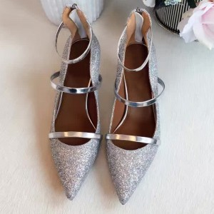 Silver Low Heel Glitter Shoes Pointy Toe Kitten Heel Pumps