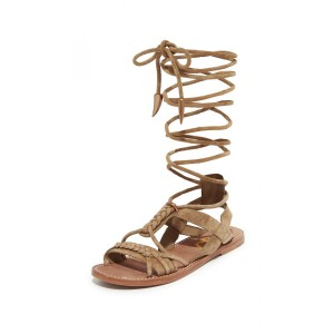 Khaki Gladiator Sandals Comfortable Strappy Flats