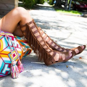 Brown Vintage Fringe Roman Sandals Flats Gladiator Sandals