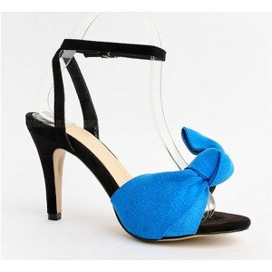Blue Ankle Strap Sandals Open Toe Bow Heels for Office Lady