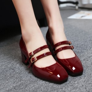Women's Red Mary Jane Patent Leather Vintage Heels