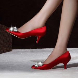 Red Satin Low Heel Wedding Shoes Rhinestone Bow Pointy Toe Pumps