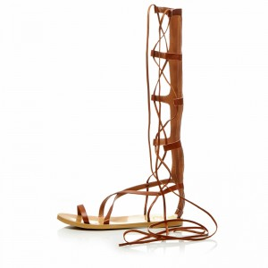 Women's Brown Strappy Flat Women's Gladiator Sandals