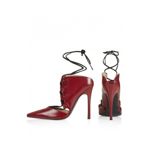 Vampire Red Strappy Heels Upper Stiletto Pumps