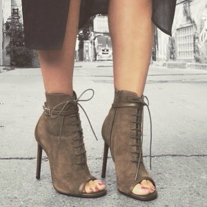 Brown Peep Toe Booties Lace up Stiletto Heel Vintage Boots