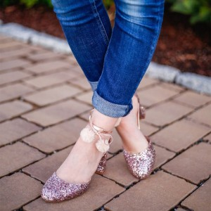 Violet Glitter Shoes Chunky Heel Ankle Strap Pumps