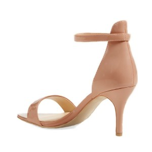 On Sale Blush Patent Leather Stiletto Heel Ankle Strap Sandals