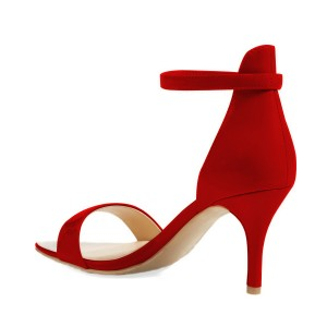 On Sale Red Ankle Strap Sandals 3 Inches Heels Stiletto Heels Shoes