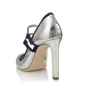 Women's Silver Stiletto Mary Jane Vintage Heels