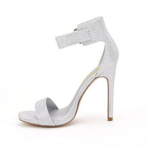 Silver Ankle Strap Sandals Open Toe Stiletto Heel Shoes by FSJ