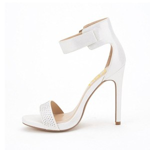 White Ankle Strap Sandals Rhinestone Stiletto Heel Open Toe Sandals