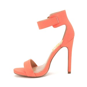 Salmon Ankle Strap Sandals Open Toe Stiletto Heels