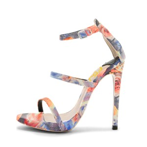 Floral Heels Ankle Strap Open Toe Sandals Stiletto Heels