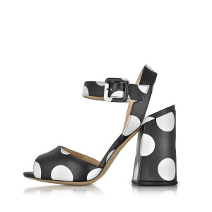Women's Black and White Polka Dots Chunky Heel Sandals