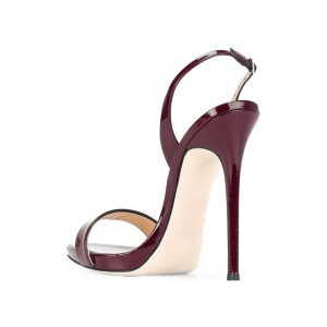 On Sale Chocolate Slingback Heels Patent Leather Office Sandals