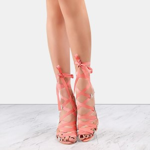 Pink and Clear Strappy Sandals Open Toe Stilettos Heels