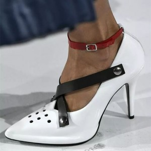 White and Black Pointy Toe Stiletto Heels Buckle Ankle Strap Pumps