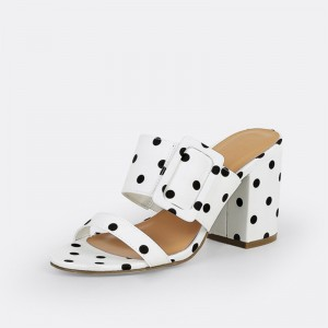 White and Black Polka Dots Buckles Chunky Heel Mule Sandals