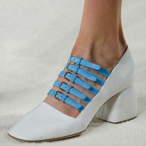 White and Blue Buckles Mary Jane Pumps Block Heels Vintage Shoes