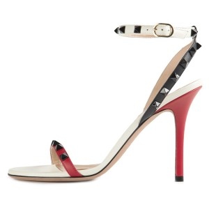 White and Red Rivets Ankle Strap Sandals Stiletto Heel Slingbacks