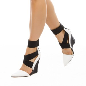 Black and White Closed Toe Wedges Cross over Strap Pumps