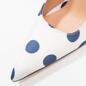 White Floral Heels Navy Polka Dots Pointy Toe Stiletto Heel Pumps