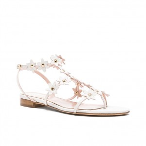 White Flowers Shape Beach Sandals