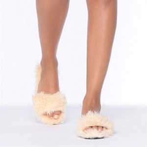 White Furry Women's Slide Sandals Open Toe Flats US Size 3-15