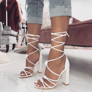 White Open Toe Chunky Heels Strappy Sandals
