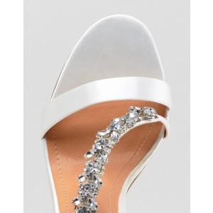White Satin Bridal Sandals Open Toe Rhinestone Ankle Strap Heels