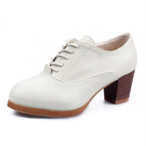 White Oxford Heels Round Toe Lace up Block Heel Vintage Shoes