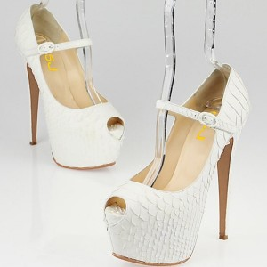 White Python Platform Heel Mary Jane Pumps Stripper Shoes