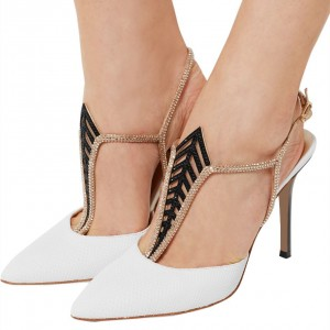 White T Strap Pumps Pointy Toe Stilettos Rhinestone Slingback Pumps