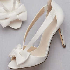 White Satin Bow Stiletto Heels Peep Toe Pumps