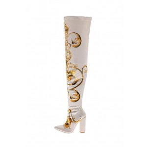 White Satin Floral Chunky Heel Boots Thigh High Boots