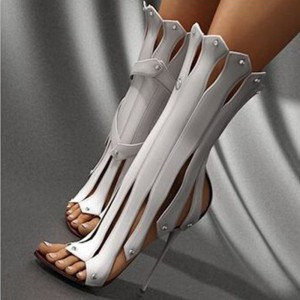 White Stripper Heels Open Toe Stiletto Heel Sexy Shoes for Night Club